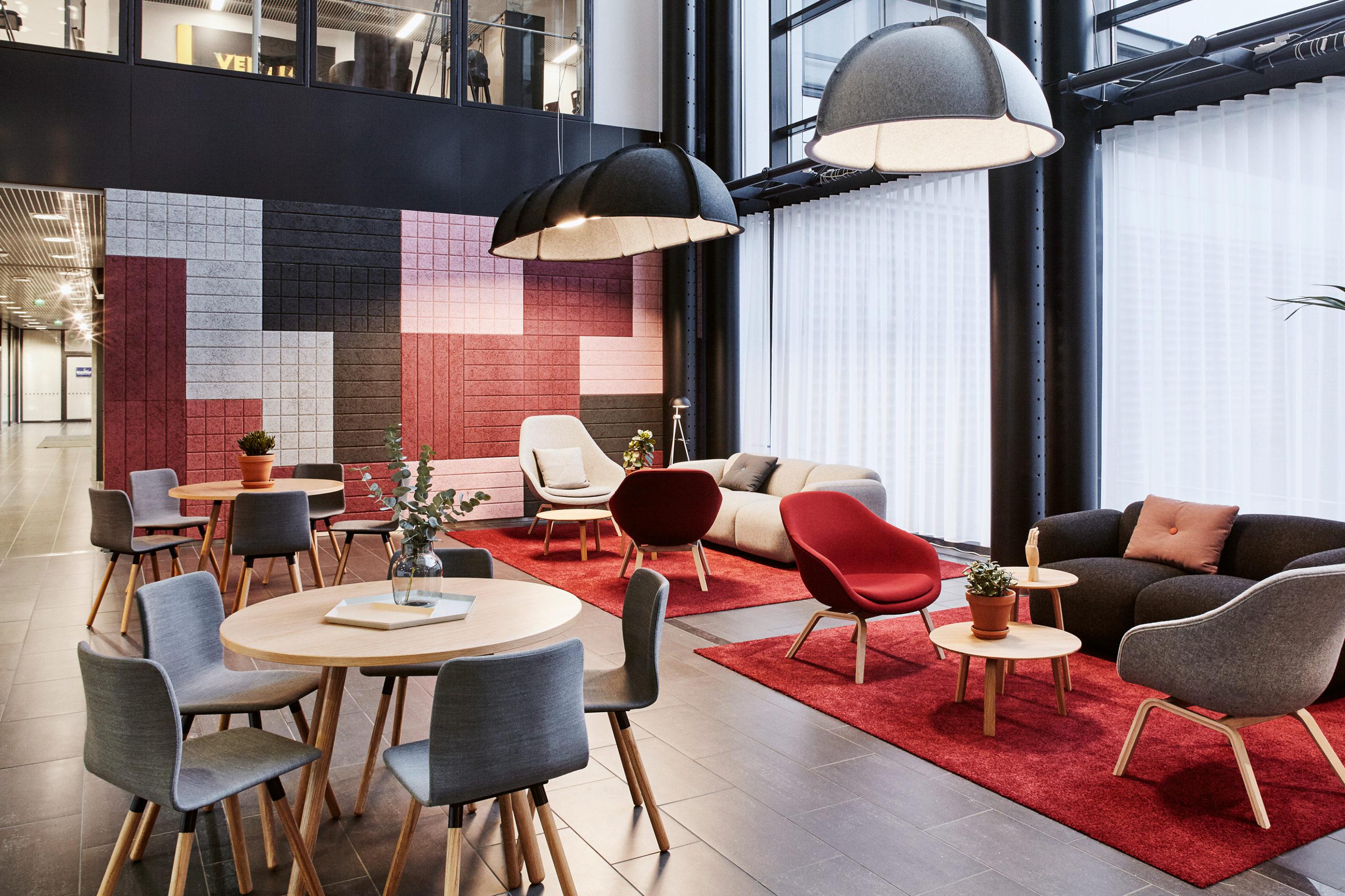 helsinki office with acoustic wood wool tiles